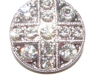 Round Crystal Clear Diamante Buttons 20mm For ,Wedding, Bridal, Costume,Craft