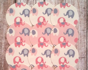 ELEPHANT oreo edible images image oreos pink gray 1 dozen 2 inch circles rounds precut frosting sheets baby shower party cupcake toppers