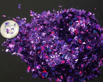 Purple Holographic Flakes Solvent Resistant Large Flakies Glitter Shreds