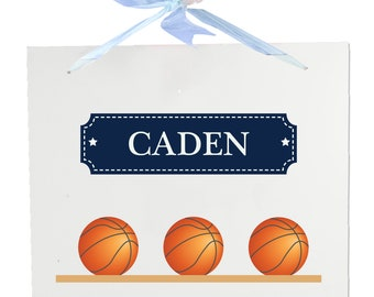 Personalized Basketballs Wooden Wall Hanger With Blue Ribbon