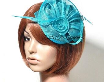 Turquoise Sinamay Hat Fascinator, Bridal Fascinator, Wedding Fascinator, Derby Hat, Melbourne Cup