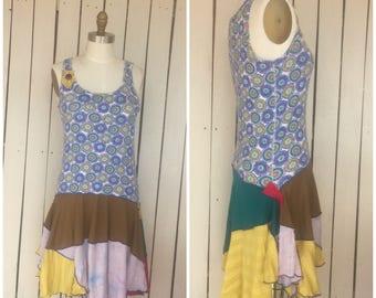 Bohemain mandala patchwork paint splatter dress-boho gypsy clothing- Sz Medium/Large-75rabbit Designs