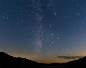 Milky Way over the Boundary 2, stars, sky, water, clouds, night