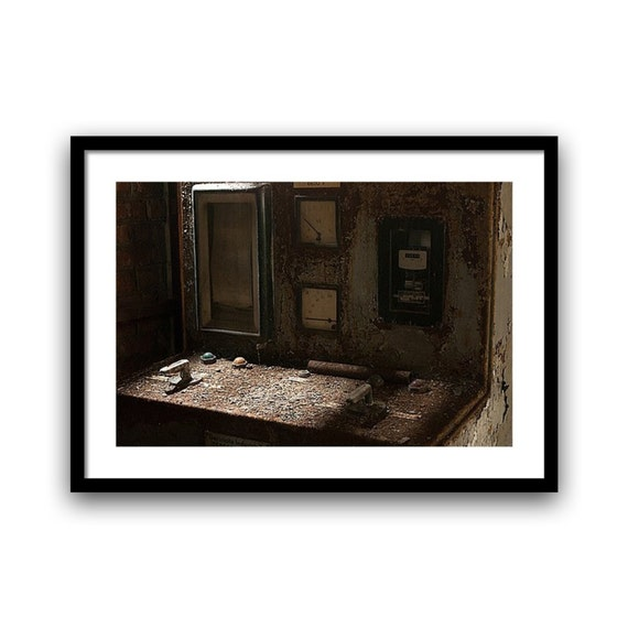 Urban Decay Photography, Fine art print, Abandoned Industry, Control Panel, 5x7, 8x10, Brown, Wall Art, Surreal