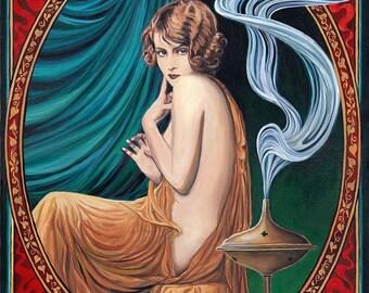 Charms of Ishtar ACEO ATC Mini Fine Art Print Altar Art Nouveau Pagan Mythology Gypsy Witch Goddess Art