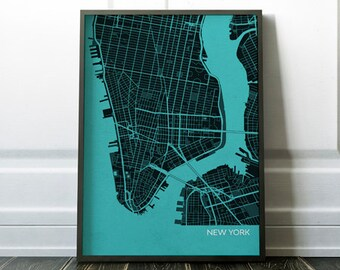 New York City Street Map, Travel Print - gift, wall decor, travel map, free shipping, gift for him, gift for her, living room, travel, map