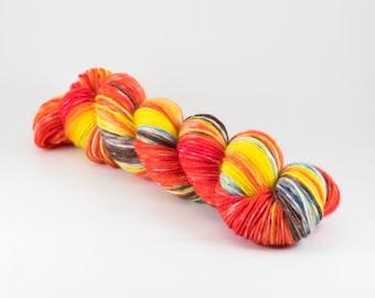 Gradient Sock Set - Hand Dyed Yarn - NIGHT OF FIRE - 2x50g Skeins - 80/20 Superwash Merino/Nylon Sock Yarn