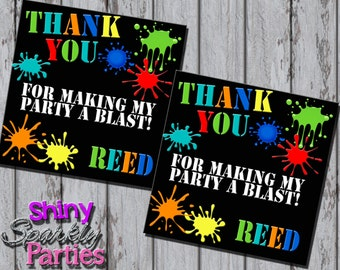 PAINTBALL FAVOR TAGS - Paintball Birthday Party Favor Tags - Paintball Gift Tags - Paintball Party Decoration - Paintball Labels - Boy Party