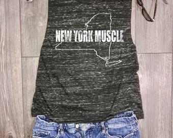 New York muscle tank, womens flowy muscle tank, muscle tank top, New York tank, muscle workout tank, New York workout tank, NY tank