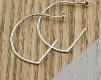 Linear Curve Earrings || Sterling Silver, Stud, Earrings, Handmade, Curved, Silver, Jewelry, Handcrafted, Evening wear, Unique