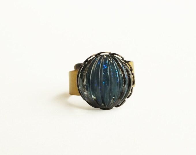 Nail Polish Ring Blue Glitter Vintage Glass Indigo Ring Adjustable Brass Navy Blue Dark Teal Nail Polish Jewelry