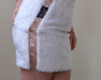 Freaking too cool- 80s/90s clubwear white FURRY skirt with clear vinyl side panels. Small