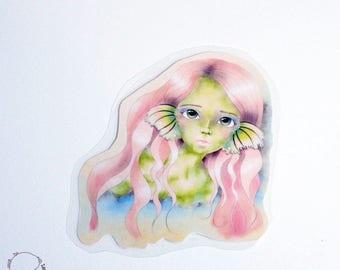 Plastified bookmark green dragon fairy