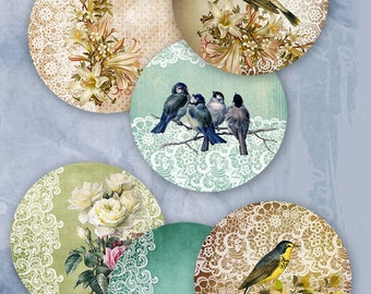 "75% OFF SALE Digital collage sheet ""Lace Circle"" - Printable Download Digital Tags Digital Vintage Digital Image ATC Card Birds Scrapbook"