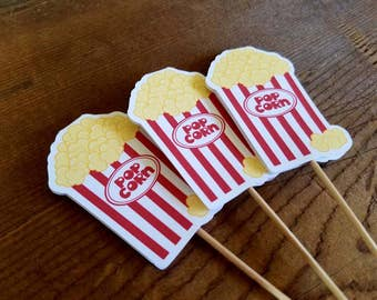 Big Top Circus Party - Set of 12 Popcorn Cupcake Toppers by The Birthday House