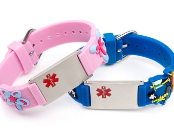 Medical alert bracelet for kids, Allergy ID bracelet children, medical sign bracelets