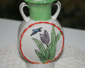 Green and White Painted Vase from Japan - Single Flower Design