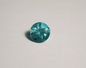 1.08ct Neon Teal Apatite - Clean Custom Brilliant Round Cut Gemstone 6x6