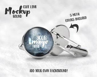 Round Cuff Links Mockup Template | Cabochon cufflinks | Front and Back View | Photography | Round Cuff Link Template