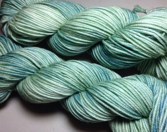 Sage DK weight hand dyed yarn with free pattern!