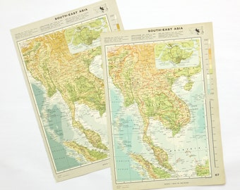Vintage South-East Asia map - Large Map of South East Asia - Thailand, Cambodia, Vietnam, Singapore - travel souvenir