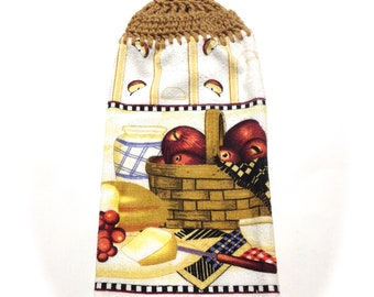 Apples Basket Hand Towel With Warm Brown Crocheted Top
