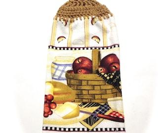Äpfel Korb Handtuch mit warmen braunen Gehäkelte Top