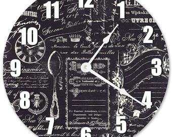 "10.5"" VINTAGE BLACK & WHITE Clock - Large 10.5"" Wall Clock - Living Room Clock - Round Clock - Birthday Gift - Home Decor - 3104"