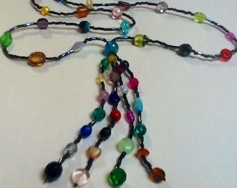 Art Deco style long flapper necklace -  rainbow of vintage Czech glass beads - 1920s inspired