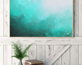 Watercolor Print, Abstract Art, Teal Abstract Watercolor, Abstract Painting, Wall Art, Canvas Art, Art Print, Ocean Inspired, Home Decor.