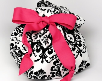 Black and White Damask - Plum Creek Knitting Project Bag - Choice of Size (BK-001)