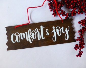 Rustic Wood Sign - Christmas Wall Hanging - Comfort and Joy - Holiday Decor - Stained Wood Wall Art - Door Sign -