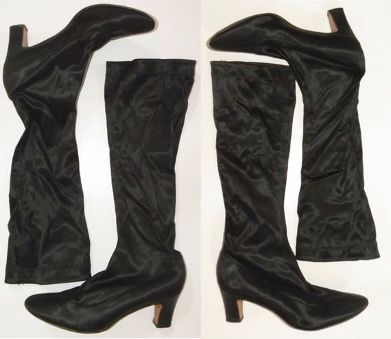 Brand On women's size Stretch GO 1970s GO 9 Boots 70s Pull Black Daisy Heels with Vintage Spandex HwqOS