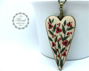 Floral Heart Necklace Love jewelry Heart jewelry Romantic gift Valentines day gift Love gifts Gift for her Gift for wife
