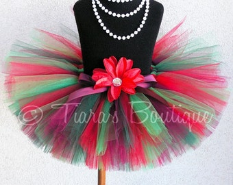 Christmas Tutu - Classic Christmas - Custom Sewn 8'' Red Green Tutu - sizes Newborn to 5T - Vintage Christmas Collection by Tiara's Boutique
