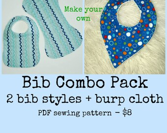 Infant bib pattern, Bib and burp cloth pattern, Newborn accessories, Bib pattern, Bandana bib pattern, Newborn sewing pattern
