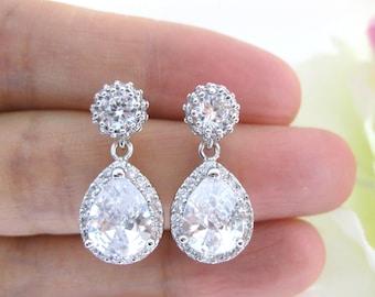 Lux Clear White Cubic Zirconia Teardrop Earrings Sparky Earrings Bridal Earrings Wedding Jewelry Bridesmaid Gift Luxury Earrings (E104)