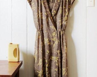 1980's Vintage Transparent Brown & Yellow floral dress - Medium
