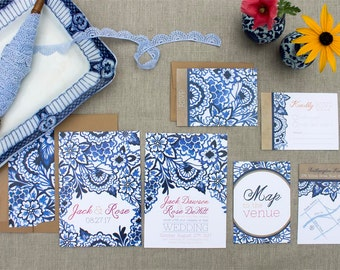 Blue Willow Wedding Invitation - SAMPLE - Delft Blue Wedding - Watercolour Painted Wedding Stationery by Alicia's Infinity