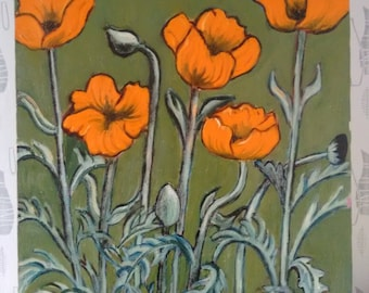 60-70's Poppy Painting Picture Oil on canvas by Ella Smith
