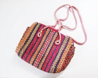 Woven Purse - Pink Purse - Bohemian Bag - Boho Purse - Mexican Purse - Vegan Purse - Colorful Purse - Shoulder Bag - Tropical Purse