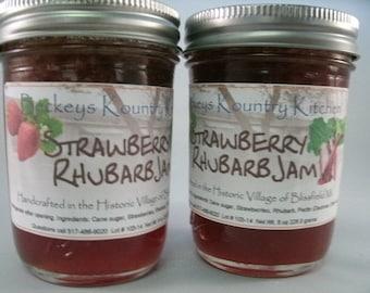 Two Jars Strawberry Rhubarb jam homemade by Beckeys Kountry Kitchen jelly fruit spread preserves