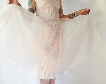 late 1940s early 1950s tiny floral flocked full circle sheer nylon dress