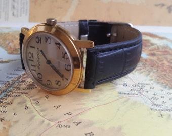"Modern men's watch,Wristwatch,Soviet USSR watch, Watch Luch, Gift for him,Belarus,Unusual dial,Vintage Men's ""RAY""white face men watch Ray,"
