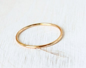 Yellow gold ring, solid 14k yellow gold stacking ring, delicate fine round gold band, thin gold band, stackable gold ring handmade