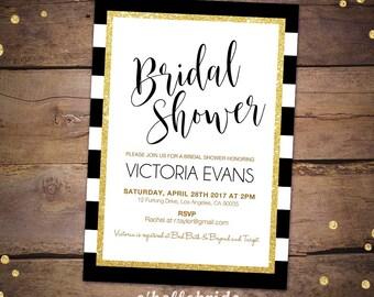 Bridal Shower Invitation Printable for Black Gold Bridal Shower - Gold Bridal Shower Invitations - Gold Bridal Shower Invites 047