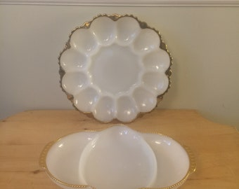 Vintage Fire King Milk Glass with Gold Trim Set of Serving Dishes Divided Relish Tray and Deviled Egg Platter