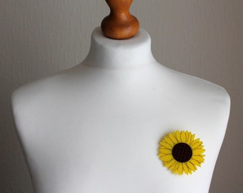 Broche tournesol acrylique