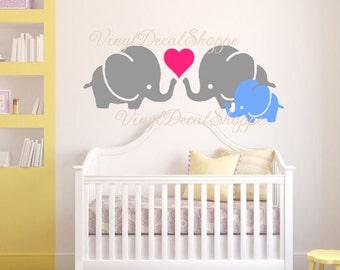 Elephant Nursery Wall Decal, Nursery Decor, Elephant Theme, New Baby, Nursery Decorations, Baby Girl Gift, Baby Boy Gift, Wall Decal