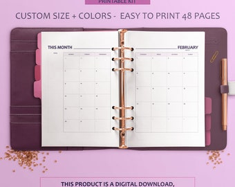 Custom Monthly Planner Inserts, Monthly Planner 2018, Printable Monthly Inserts, Printable Monthly Planner, Printable Planner PDF, Filofax